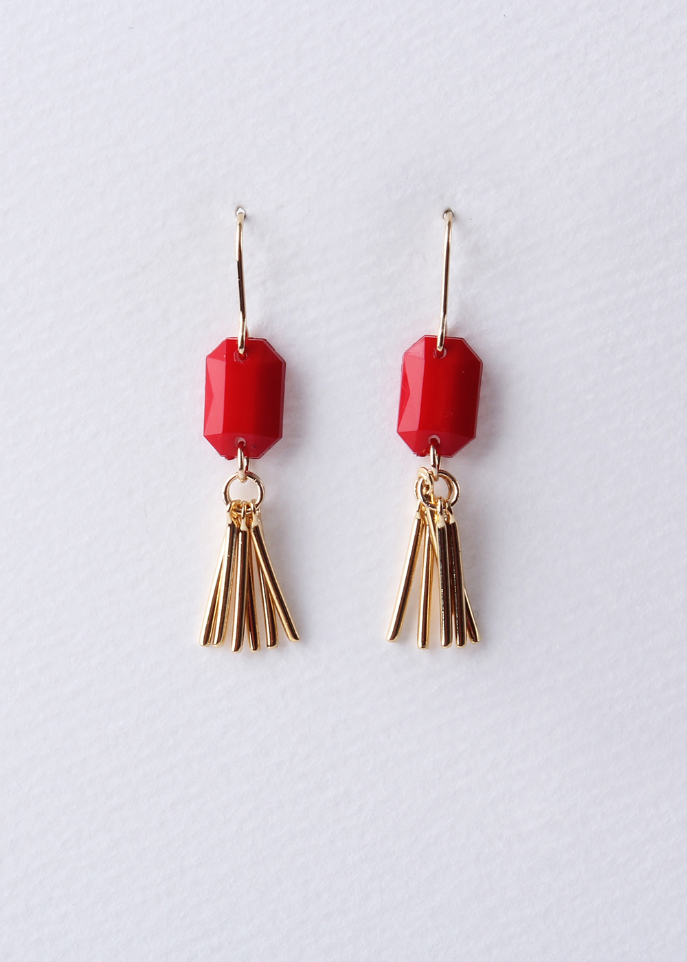 Acrylic Tassel Earrings (RED)